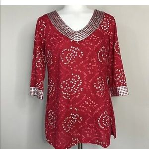 Calypso for target red beaded tunic